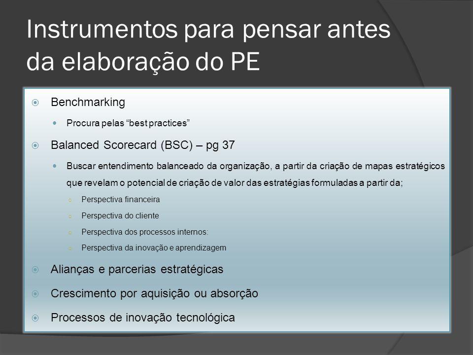 Instrumentos para pensar antes da elaboração do PE Benchmarking Procura pelas best practices Balanced Scorecard (BSC) – pg 37 Buscar entendimento bala