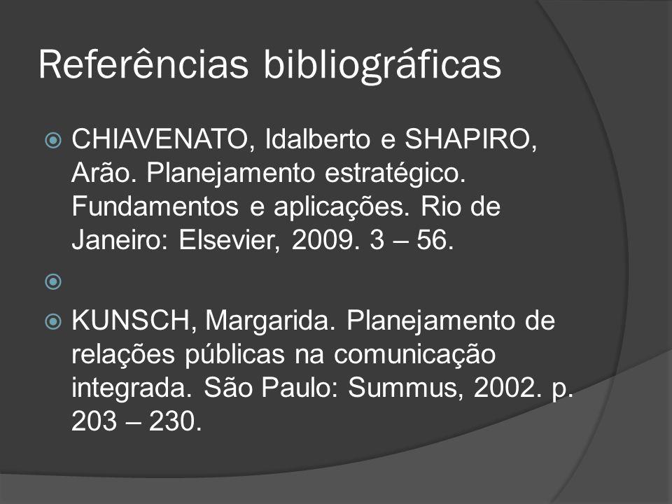 Referências bibliográficas CHIAVENATO, Idalberto e SHAPIRO, Arão.