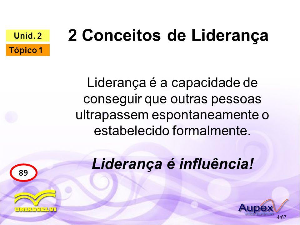 2 Conceitos de Liderança 4/67 89 Unid. 2 Tópico 1 Liderança é a capacidade de conseguir que outras pessoas ultrapassem espontaneamente o estabelecido