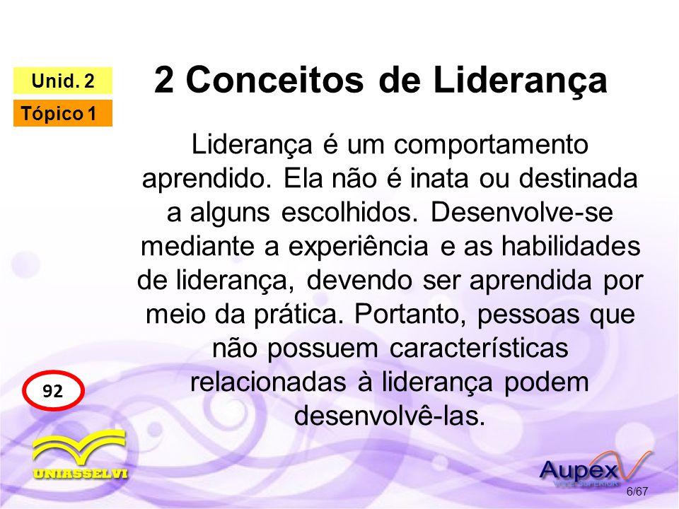 2 Conceitos de Liderança 6/67 92 Unid. 2 Tópico 1 Liderança é um comportamento aprendido. Ela não é inata ou destinada a alguns escolhidos. Desenvolve