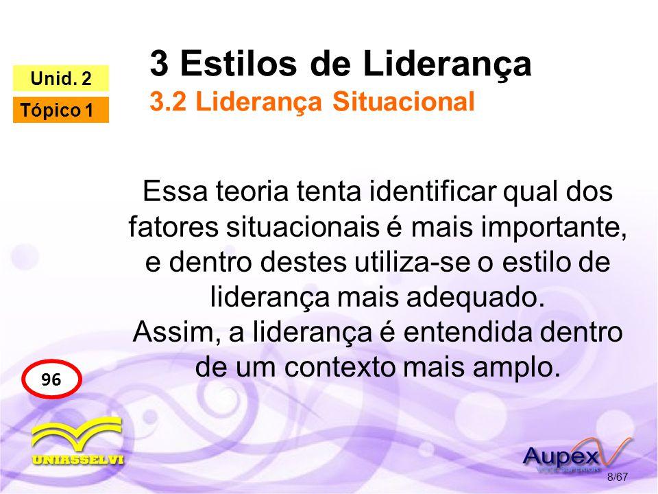 3 Estilos de Liderança 3.2 Liderança Situacional 8/67 96 Unid. 2 Tópico 1 Essa teoria tenta identificar qual dos fatores situacionais é mais important