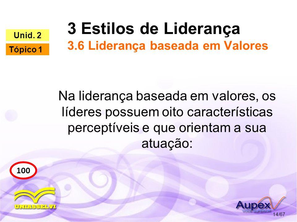 3 Estilos de Liderança 3.6 Liderança baseada em Valores 14/67 100 Unid. 2 Tópico 1 Na liderança baseada em valores, os líderes possuem oito caracterís