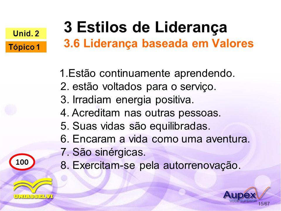 3 Estilos de Liderança 3.6 Liderança baseada em Valores 15/67 100 Unid. 2 Tópico 1 1.Estão continuamente aprendendo. 2. estão voltados para o serviço.