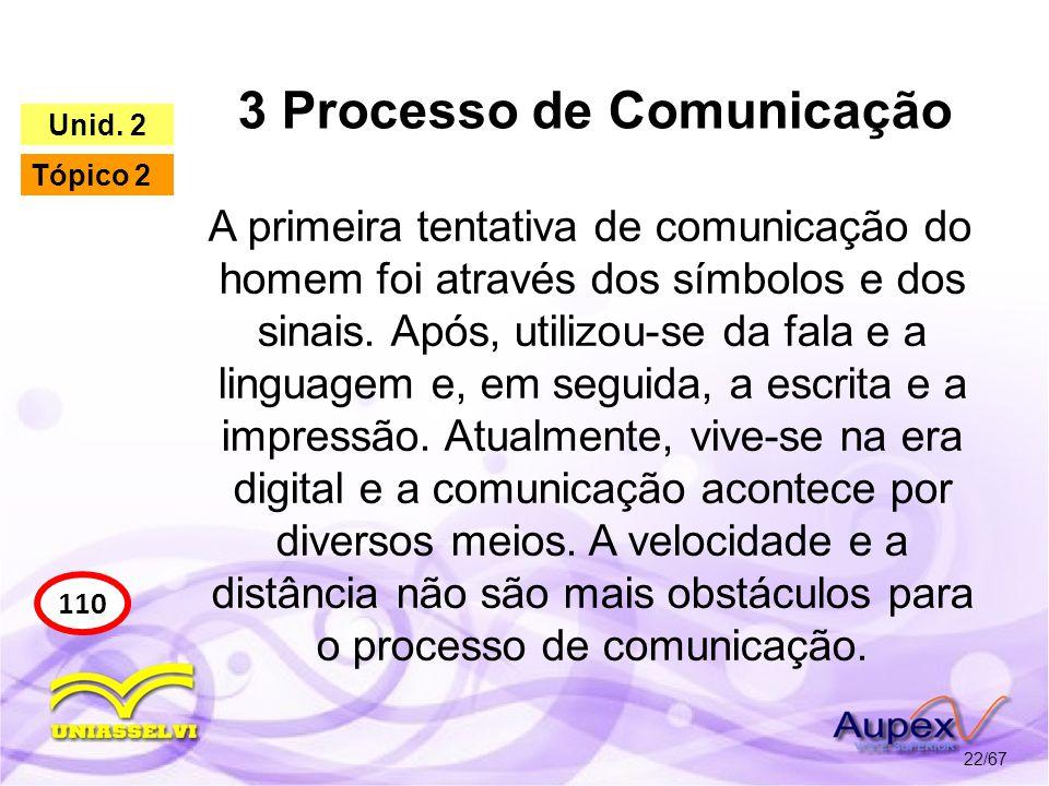 3 Processo de Comunicação 22/67 110 Unid. 2 Tópico 2 A primeira tentativa de comunicação do homem foi através dos símbolos e dos sinais. Após, utilizo