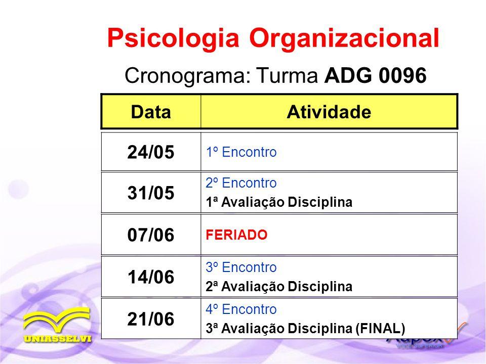 Cronograma: Turma ADG 0096 Psicologia Organizacional DataAtividade 31/05 2º Encontro 1ª Avaliação Disciplina 24/05 1º Encontro 14/06 3º Encontro 2ª Av