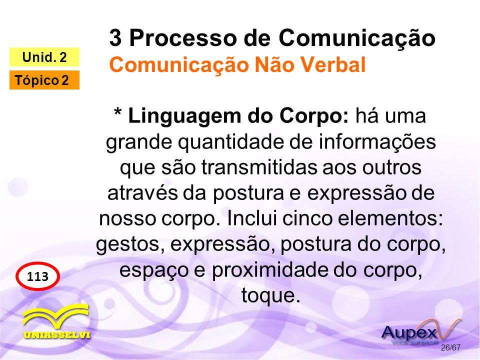 3 Processo de Comunicação Comunicação Não Verbal 26/67 113 Unid. 2 Tópico 2 * Linguagem do Corpo: há uma grande quantidade de informações que são tran