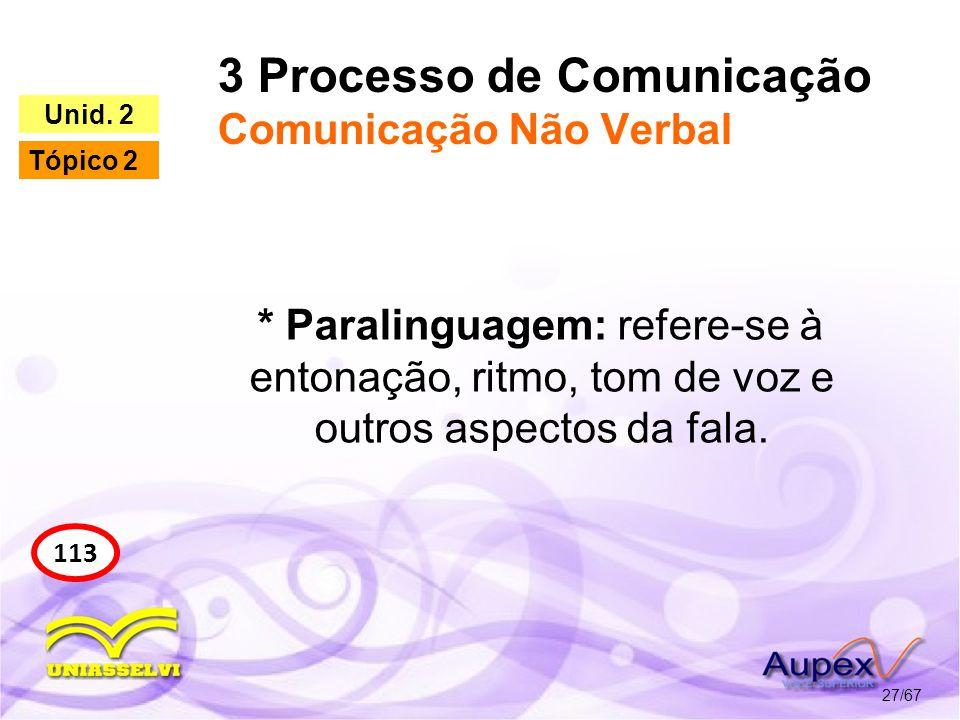 3 Processo de Comunicação Comunicação Não Verbal 27/67 113 Unid. 2 Tópico 2 * Paralinguagem: refere-se à entonação, ritmo, tom de voz e outros aspecto