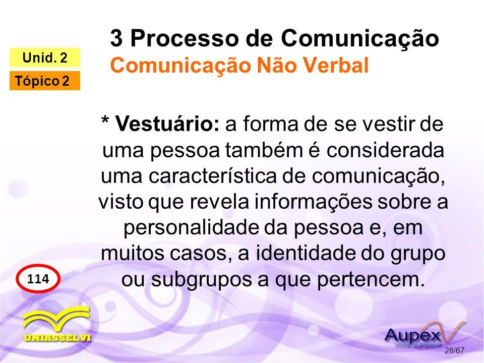 3 Processo de Comunicação Comunicação Não Verbal 28/67 114 Unid. 2 Tópico 2 * Vestuário: a forma de se vestir de uma pessoa também é considerada uma c