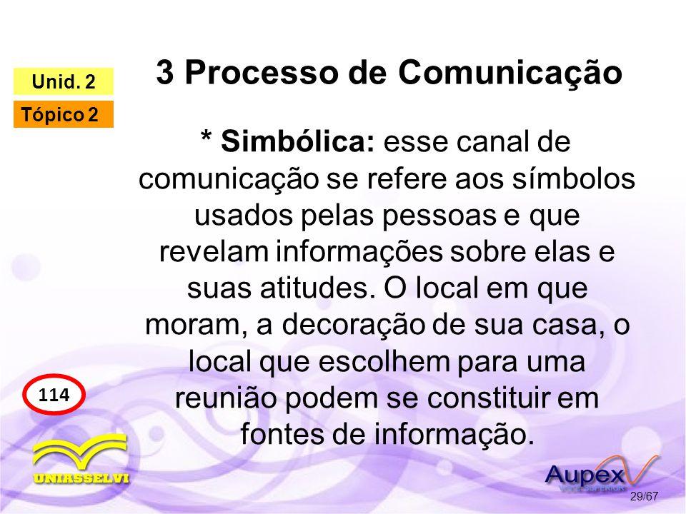 3 Processo de Comunicação 29/67 114 Unid. 2 Tópico 2 * Simbólica: esse canal de comunicação se refere aos símbolos usados pelas pessoas e que revelam
