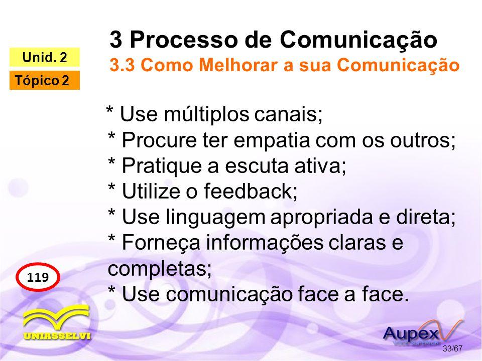 3 Processo de Comunicação 3.3 Como Melhorar a sua Comunicação 33/67 119 Unid. 2 Tópico 2 * Use múltiplos canais; * Procure ter empatia com os outros;