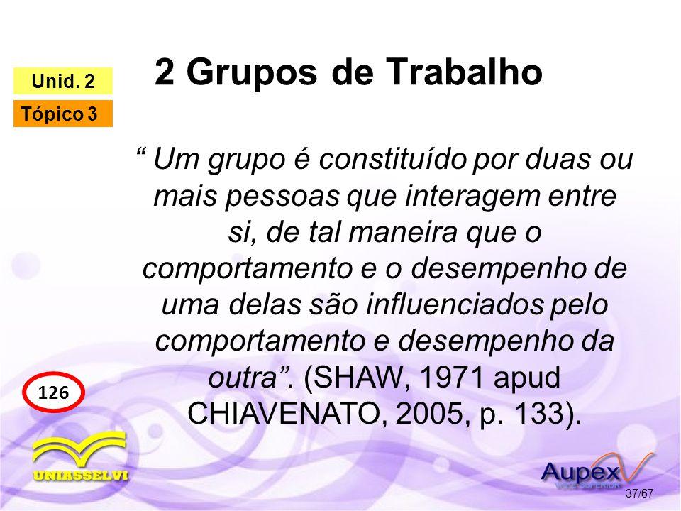 2 Grupos de Trabalho 37/67 126 Unid. 2 Tópico 3 Um grupo é constituído por duas ou mais pessoas que interagem entre si, de tal maneira que o comportam