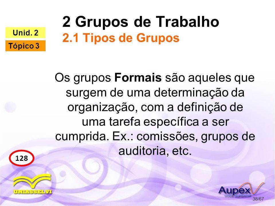 2 Grupos de Trabalho 2.1 Tipos de Grupos 38/67 128 Unid. 2 Tópico 3 Os grupos Formais são aqueles que surgem de uma determinação da organização, com a