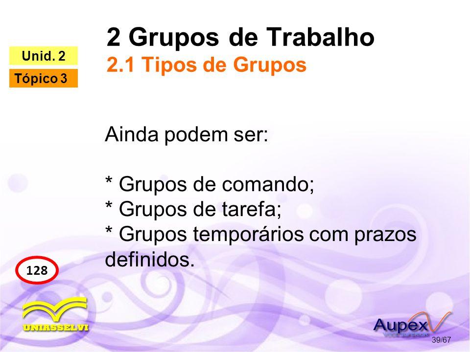 2 Grupos de Trabalho 2.1 Tipos de Grupos 39/67 128 Unid. 2 Tópico 3 Ainda podem ser: * Grupos de comando; * Grupos de tarefa; * Grupos temporários com
