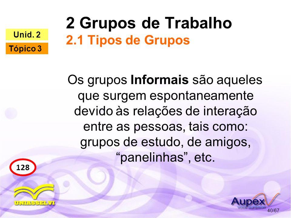 2 Grupos de Trabalho 2.1 Tipos de Grupos 40/67 128 Unid. 2 Tópico 3 Os grupos Informais são aqueles que surgem espontaneamente devido às relações de i