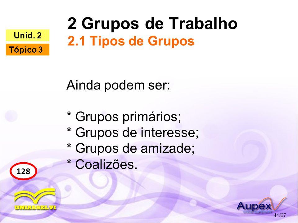 2 Grupos de Trabalho 2.1 Tipos de Grupos 41/67 128 Unid. 2 Tópico 3 Ainda podem ser: * Grupos primários; * Grupos de interesse; * Grupos de amizade; *