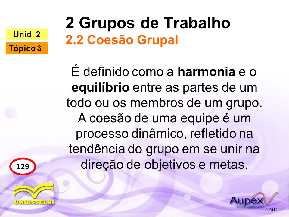 2 Grupos de Trabalho 2.2 Coesão Grupal 42/67 129 Unid. 2 Tópico 3 É definido como a harmonia e o equilíbrio entre as partes de um todo ou os membros d