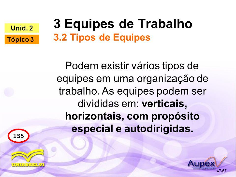 3 Equipes de Trabalho 3.2 Tipos de Equipes 47/67 135 Unid. 2 Tópico 3 Podem existir vários tipos de equipes em uma organização de trabalho. As equipes