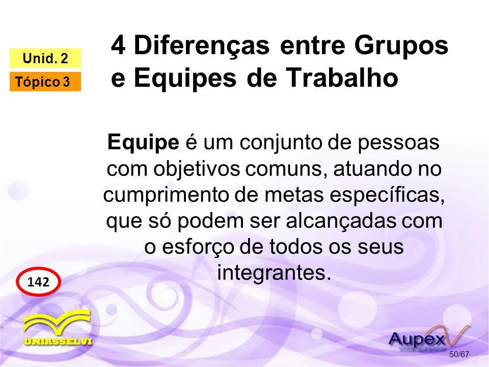 4 Diferenças entre Grupos e Equipes de Trabalho 50/67 142 Unid. 2 Tópico 3 Equipe é um conjunto de pessoas com objetivos comuns, atuando no cumpriment