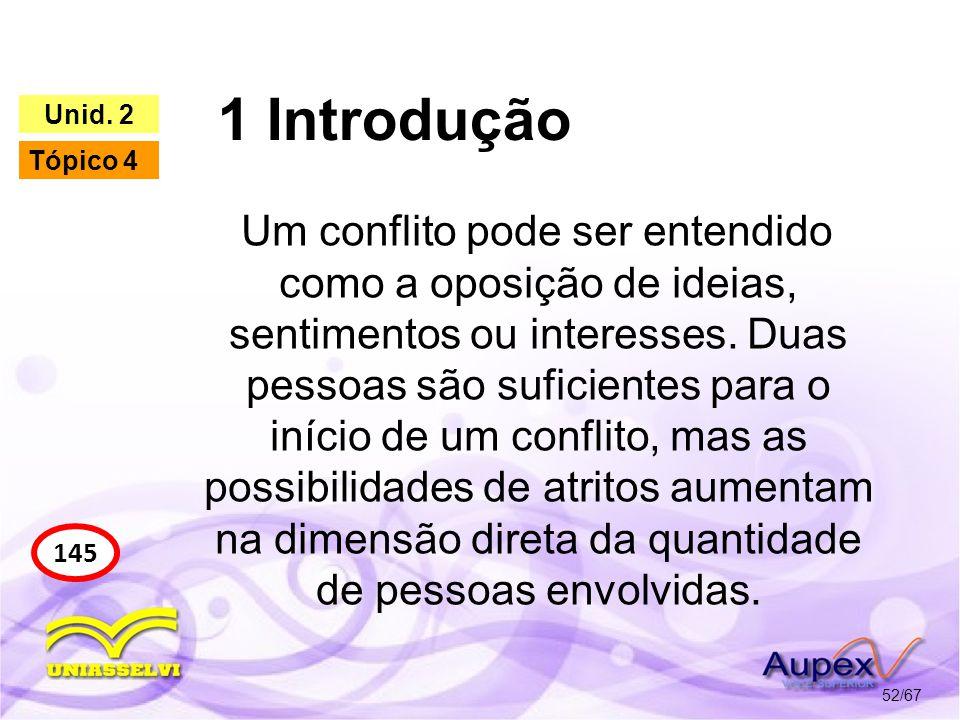 1 Introdução 52/67 145 Unid. 2 Tópico 4 Um conflito pode ser entendido como a oposição de ideias, sentimentos ou interesses. Duas pessoas são suficien