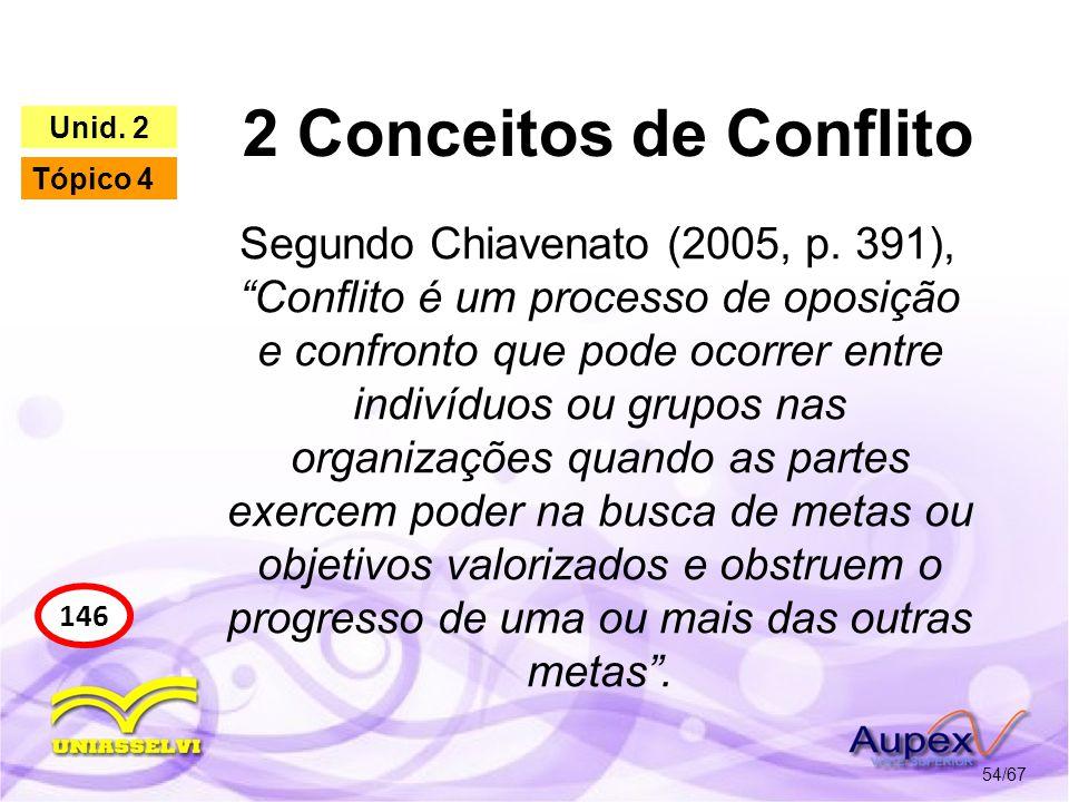 2 Conceitos de Conflito 54/67 146 Unid. 2 Tópico 4 Segundo Chiavenato (2005, p. 391), Conflito é um processo de oposição e confronto que pode ocorrer