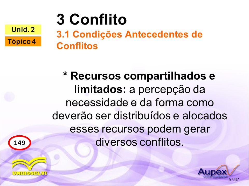 3 Conflito 3.1 Condições Antecedentes de Conflitos 57/67 149 Unid. 2 Tópico 4 * Recursos compartilhados e limitados: a percepção da necessidade e da f