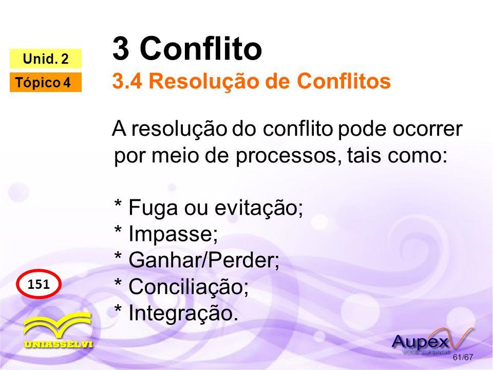 3 Conflito 3.4 Resolução de Conflitos 61/67 151 Unid. 2 Tópico 4 A resolução do conflito pode ocorrer por meio de processos, tais como: * Fuga ou evit