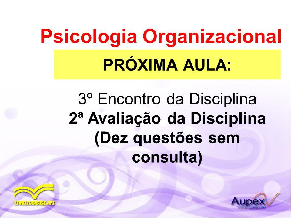 PRÓXIMA AULA: Psicologia Organizacional 3º Encontro da Disciplina 2ª Avaliação da Disciplina (Dez questões sem consulta)