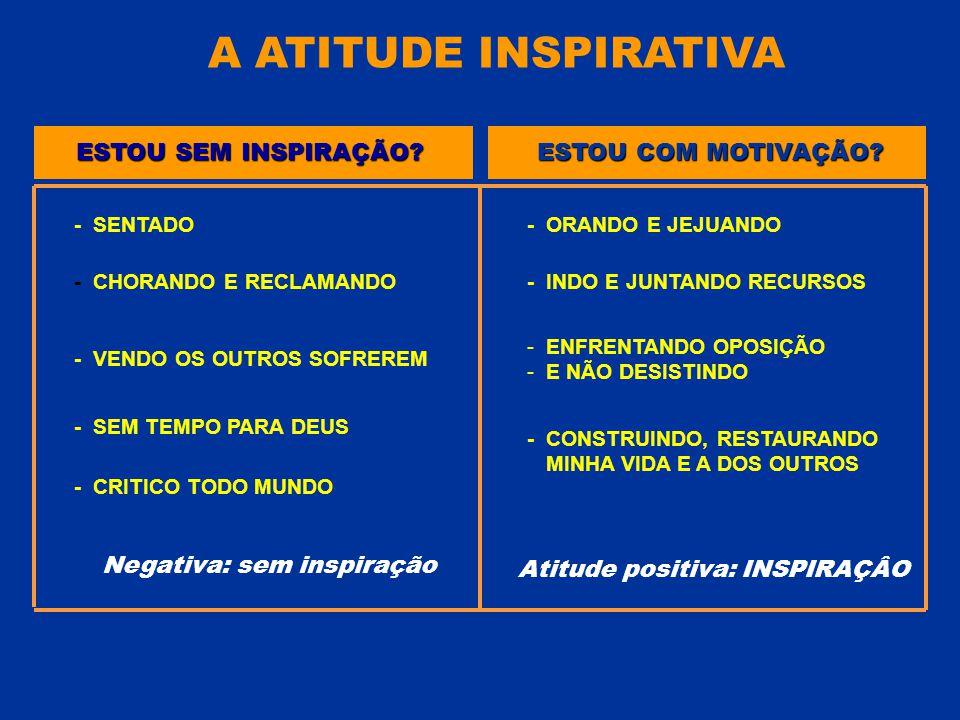 ESTOU SEM INSPIRAÇÃO? - SENTADO ESTOU COM MOTIVAÇÃO? - CHORANDO E RECLAMANDO - VENDO OS OUTROS SOFREREM - SEM TEMPO PARA DEUS Negativa: sem inspiração