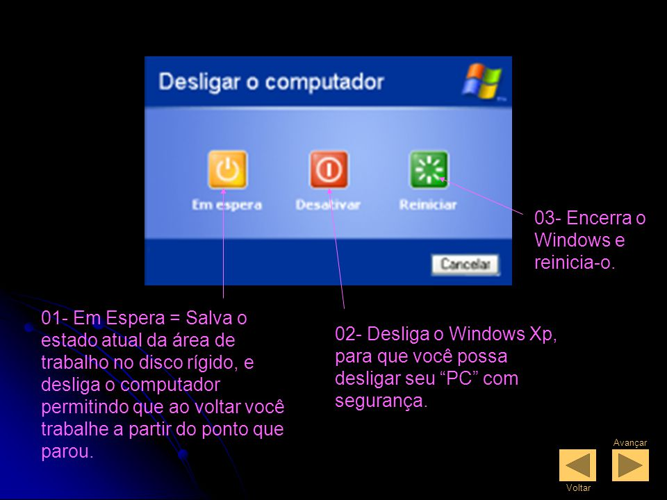 Desligando o PC Clique no botão iniciar localizado na barra de tarefas, em seguida clique em Desligar o Computador.