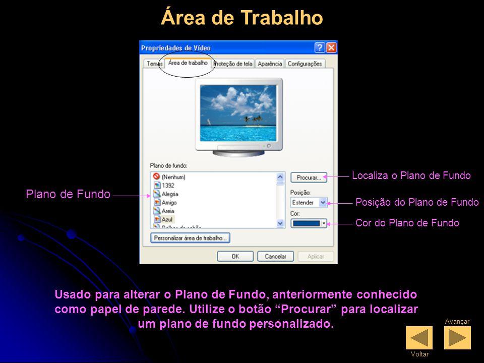Propriedades de Vídeo Um tema é um plano de fundo e um grupo de sons, ícones e outros elementos que o ajudam a personalizar o computador com um só clique.
