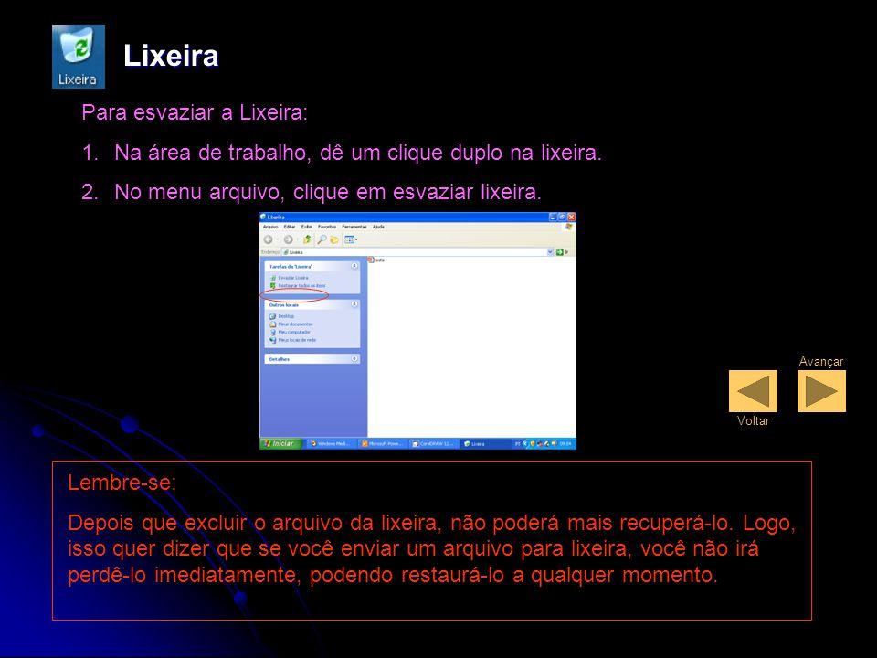 Lixeira A Lixeira armazena arquivos, pastas, elementos gráficos e páginas da Web excluídos.
