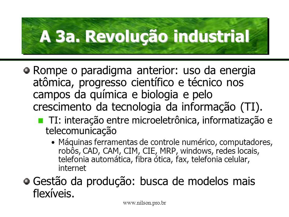 www.nilson.pro.br A 2a. Revolução industrial Espaço: Os Estados Unidos (não a Europa) Parâmetro de identificação: advento do motor a explosão interna,