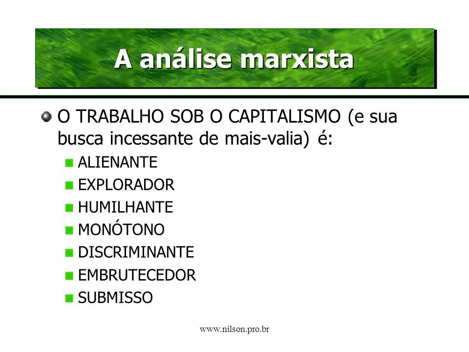 www.nilson.pro.br A Exploração do Sistema Capitalista O modo de produção capitalista da cooperação exige um parcelamento progressivo do trabalho em su
