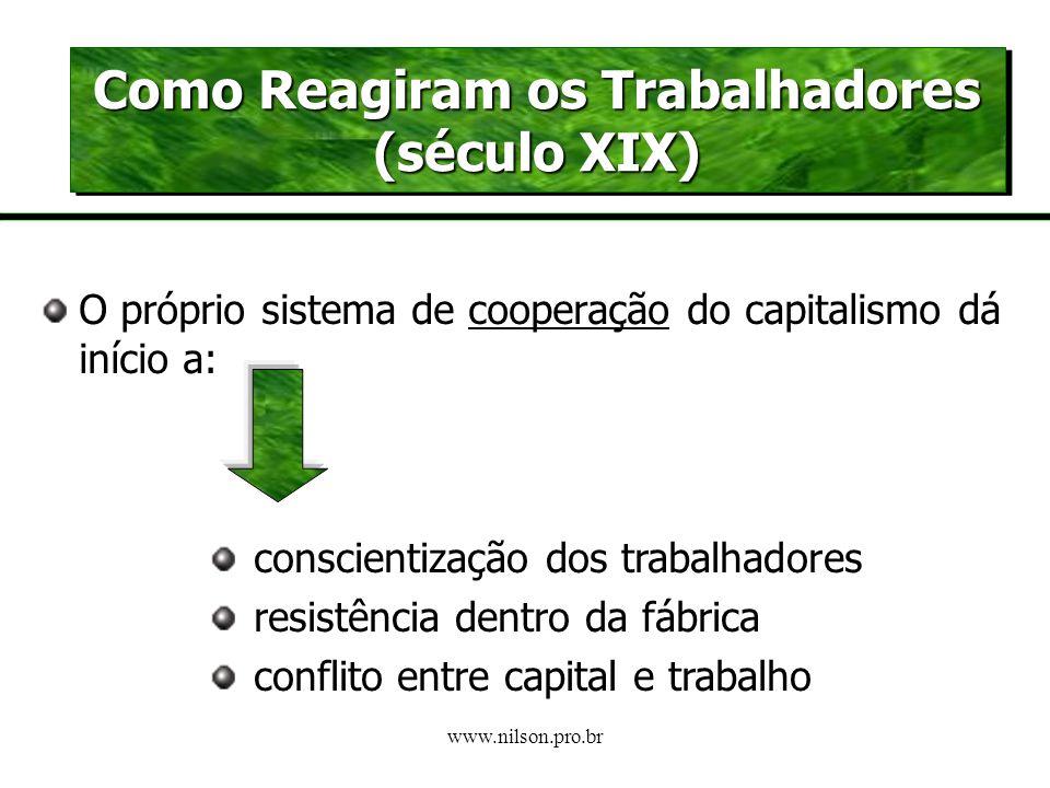 www.nilson.pro.br A análise marxista O TRABALHO SOB O CAPITALISMO (e sua busca incessante de mais-valia) é: ALIENANTE EXPLORADOR HUMILHANTE MONÓTONO D