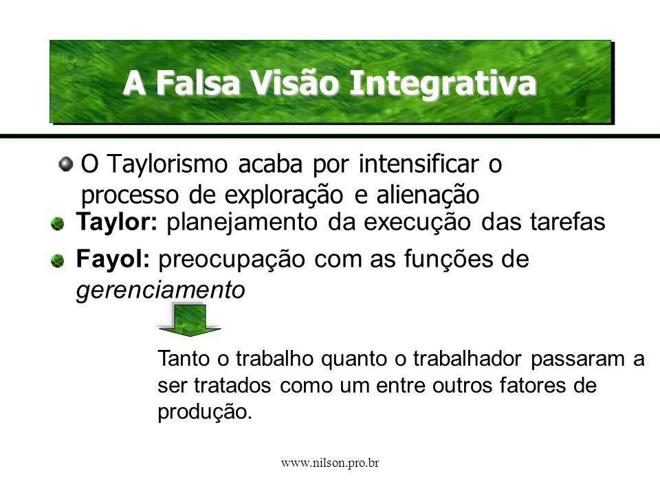 www.nilson.pro.br Radicalização da Divisão do Trabalho Taylor propõe a substituição dos métodos tradicionais (experiência) pelos científicos Defende a
