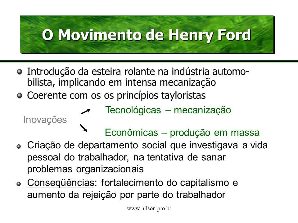 www.nilson.pro.br Sobre Taylor e Fayol FORMALISTA Empresa – conjunto de cargos hierarquizados MECANICISTA Operário – acomodação à empresa NATURALISTA