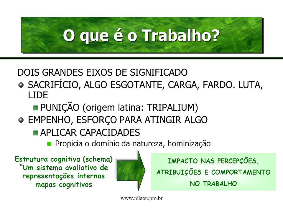 www.nilson.pro.br Aspectos subjetivos que singularizam a relação de cada pessoa com o trabalho Discurso articulado e compartilhado coletivamente na sociedade
