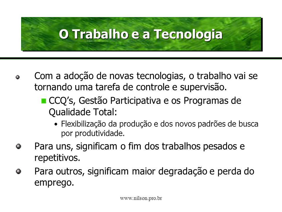 www.nilson.pro.br Novas Tecnologia: duas grandes questões É o fim do emprego? O trabalho necessita de pessoas mais qualificadas ? IMPACTOS SOBRE O EMP