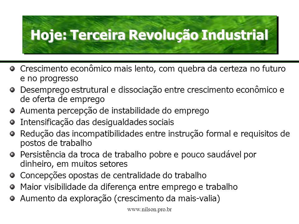 www.nilson.pro.br O Trabalho e a Tecnologia Com a adoção de novas tecnologias, o trabalho vai se tornando uma tarefa de controle e supervisão. CCQs, G
