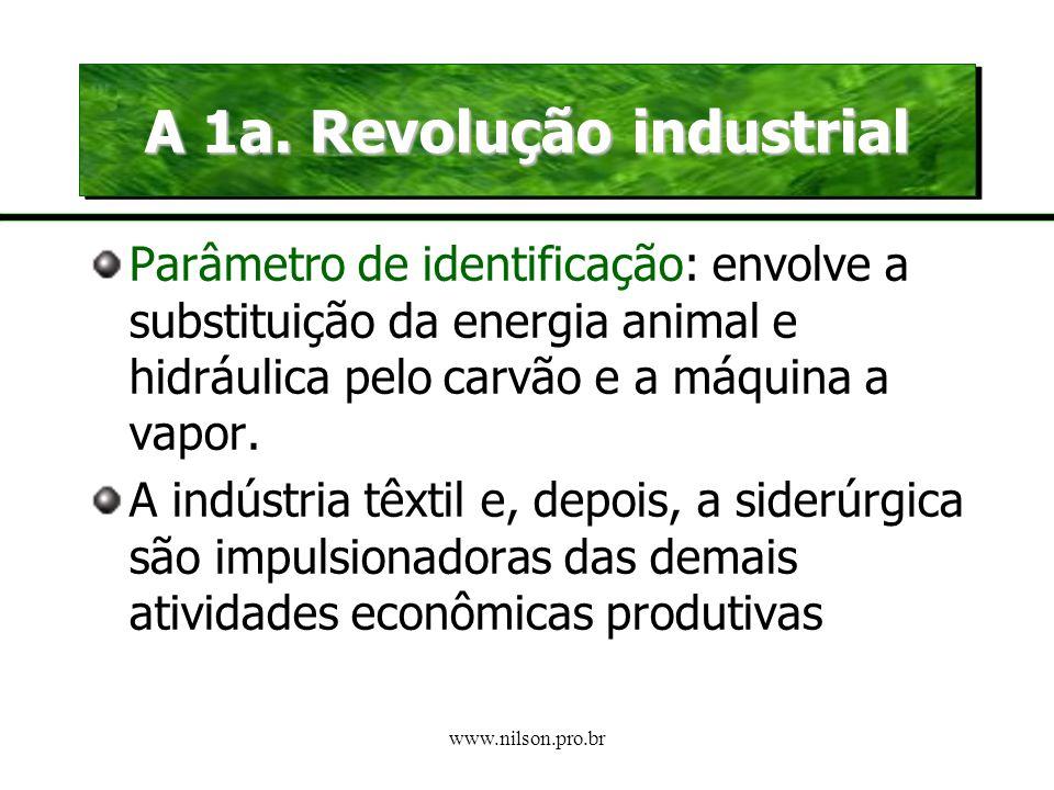 www.nilson.pro.br As revoluções industriais A 1a. Revolução industrial Inglaterra – séc XVIII até últimas décadas sec XIX.Inglaterra – séc XVIII até ú