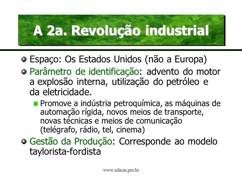 www.nilson.pro.br A 1a. Revolução industrial Parâmetro de identificação: envolve a substituição da energia animal e hidráulica pelo carvão e a máquina