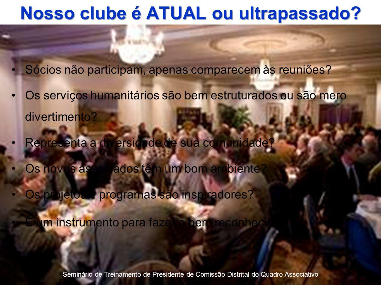 Seminário de Treinamento de Presidente de Comissão Distrital do Quadro Associativo Nosso clube é ATUAL ou ultrapassado.