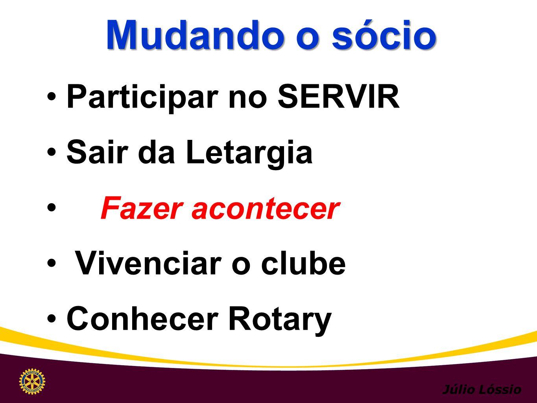Participar no SERVIR Sair da Letargia Fazer acontecer Vivenciar o clube Conhecer Rotary Mudando o sócio Júlio Lóssio