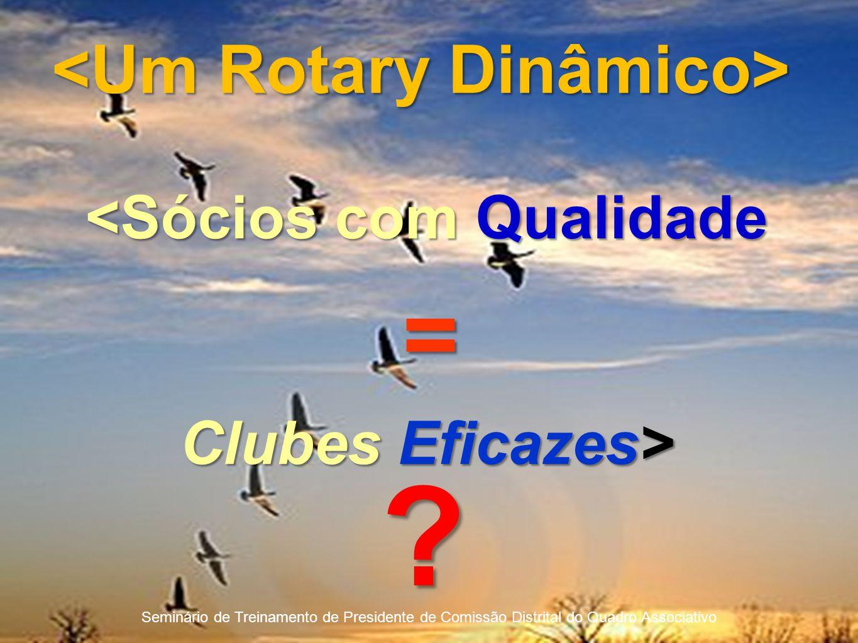 Seminário de Treinamento de Presidente de Comissão Distrital do Quadro Associativo <Sócios com Qualidade = Clubes Eficazes> ?