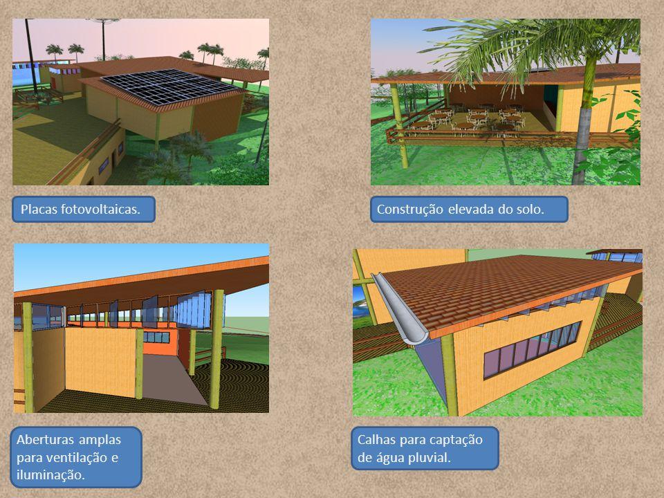 Placas fotovoltaicas.Aberturas amplas para ventilação e iluminação.