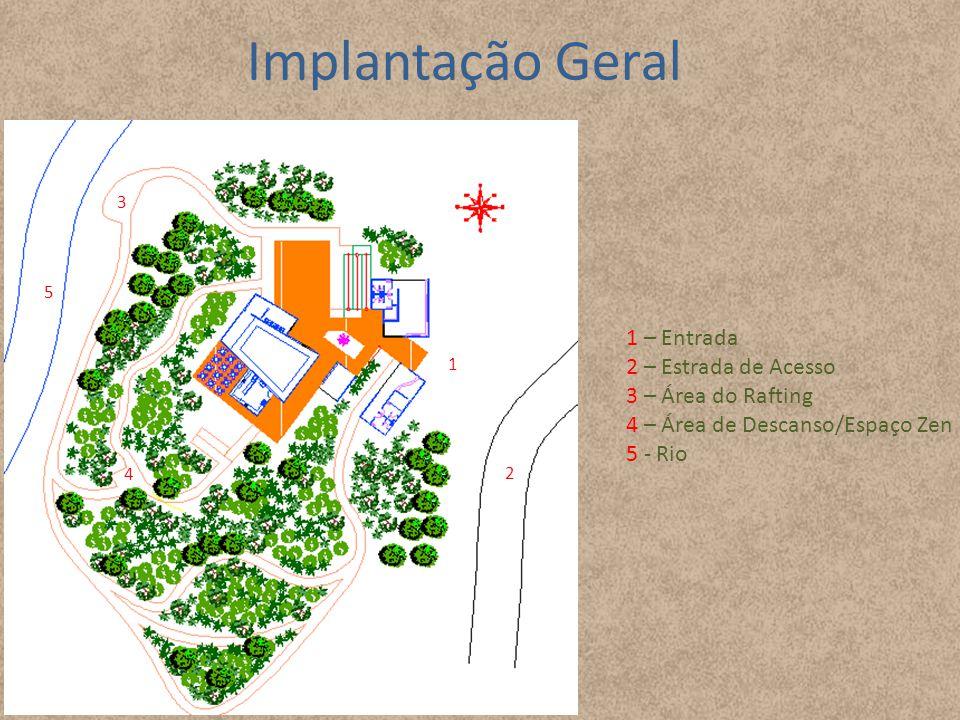 Implantação Geral 2 1 3 4 5 1 – Entrada 2 – Estrada de Acesso 3 – Área do Rafting 4 – Área de Descanso/Espaço Zen 5 - Rio