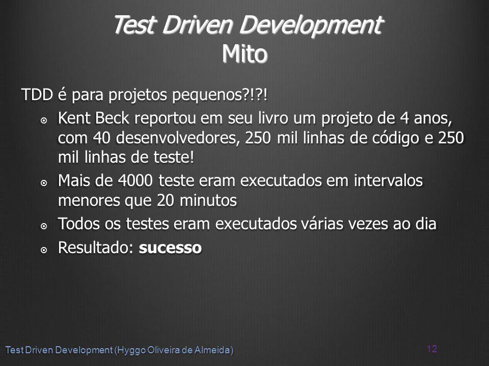 Test Driven Development Mito TDD é para projetos pequenos ! .