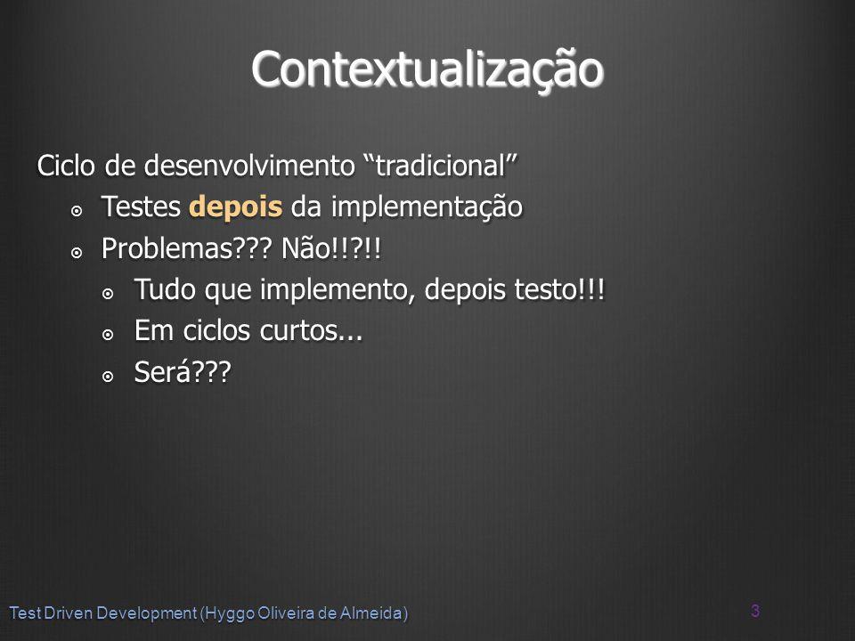 Contextualização Ciclo de desenvolvimento tradicional Testes depois da implementação Testes depois da implementação Problemas .