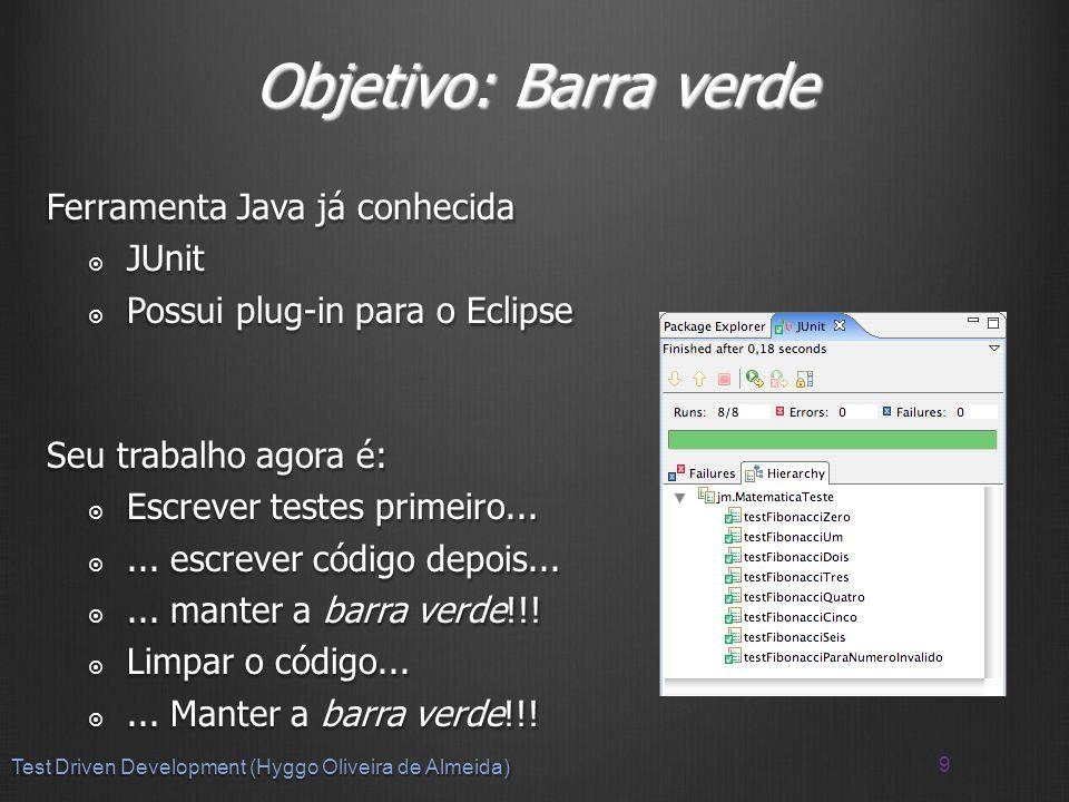Objetivo: Barra verde Ferramenta Java já conhecida JUnit JUnit Possui plug-in para o Eclipse Possui plug-in para o Eclipse Seu trabalho agora é: Escrever testes primeiro...