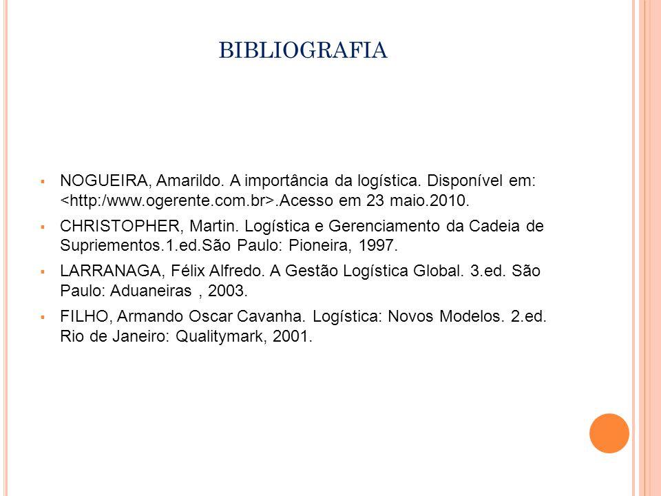BIBLIOGRAFIA NOGUEIRA, Amarildo.A importância da logística.